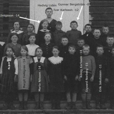 Februari 2017 Birgitta Lagedahl-ERiksson kommenterar: Fjärde från höger på nedersta raden måste vara Sigvard Norberg från Västra Örträsk. Vi har bott grannar. Numera bor familjen Holmgren i huset. Sigvard var född 1911. Karin Svensson kom med ett papper med några namn på och dessa är inlagda på bilden ovan. Får jag in fler namn lägger jag till dessa också. Årtalen är de år de var födda.