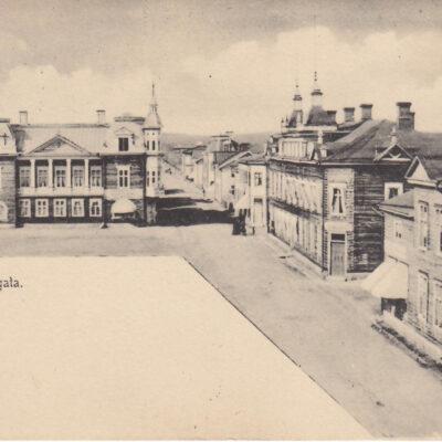 Lycksele Storgata. Ida Lindahls Bokh. Poststämplat 1/8 1906. Ägare: Åke Runnman. 9x14