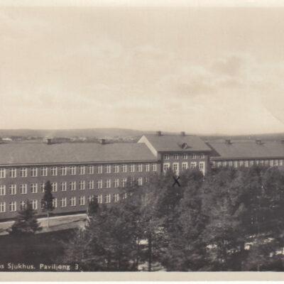 Umedalens Sjukhus. Paviljong 3. Foto och förlag: Bewe Magasinet, Umeå. Poststämpel oläslig. Ägare: Åke Runnman. 9x14