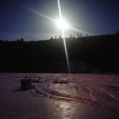 2020-01-09 Måne över Malberget. Foto: Göran Andersson