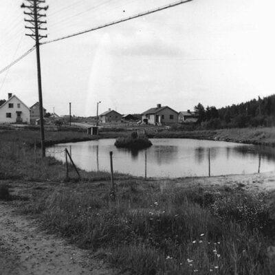 April 2013. Våren är på väg och snart ligger ankdammen isfri och då tyckte jag det kunde passa med en bild från dammens allra första år. Om jag inte har sett fel ska detta kort vara taget 1957.