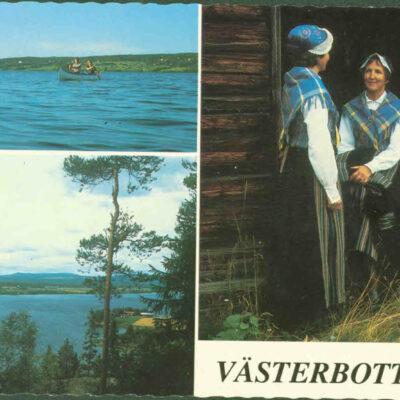 Västerbotten - Örträsk. Paddling på Örträsk-sjön. Vy över Örträsk och Hembygdsgården. Västerbottensdräkt. Foto: Zamo Kristenson. Ocirkulerat. Ägare: Åke Runnman